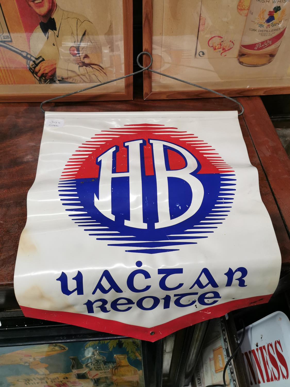 HB Ice Cream advertising sign.