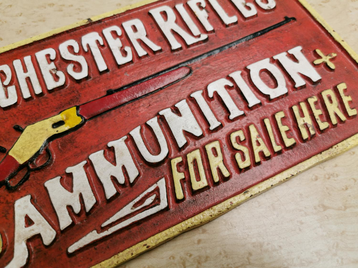 Winchester Rifles advertising sign. - Image 2 of 2