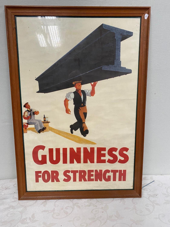 Guinness For Strength framed advertising print { 80cm H X 55cm W }.