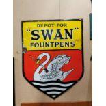 Swan Fountpens enamel advertising sign.