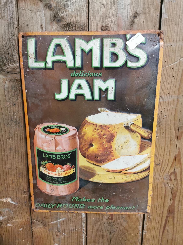 Lambs Jam tin plate advertising sign.