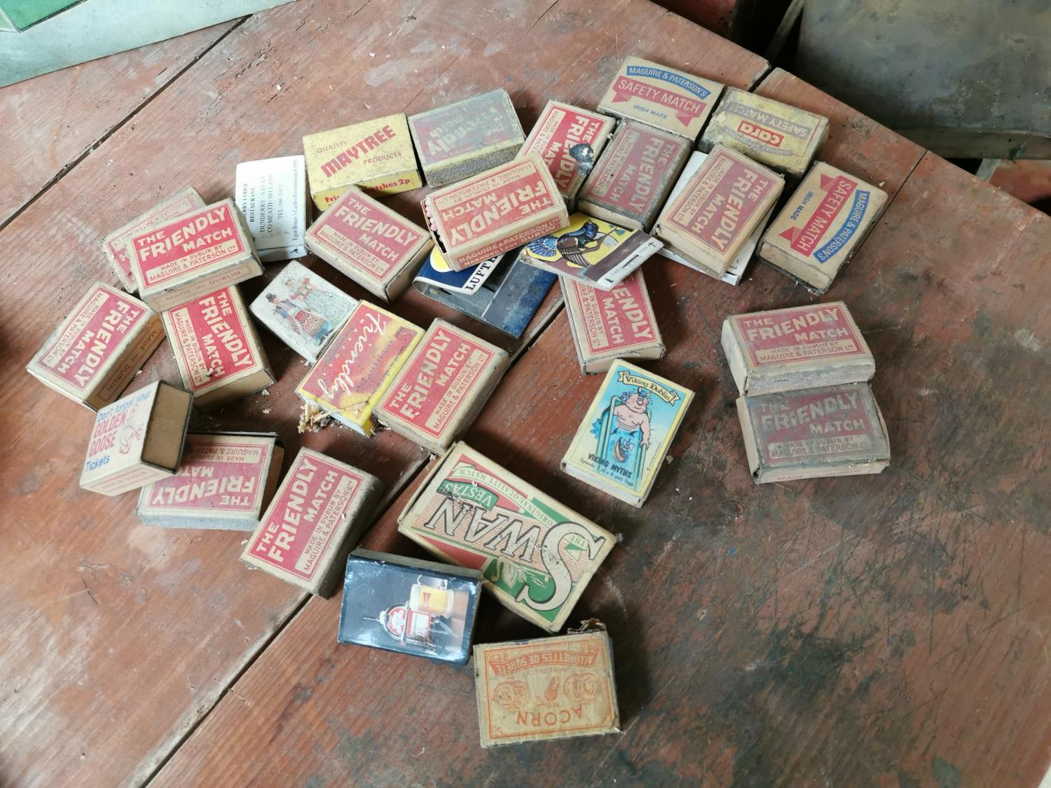 Collection of vintage match boxes.