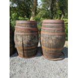 Two oak barrels