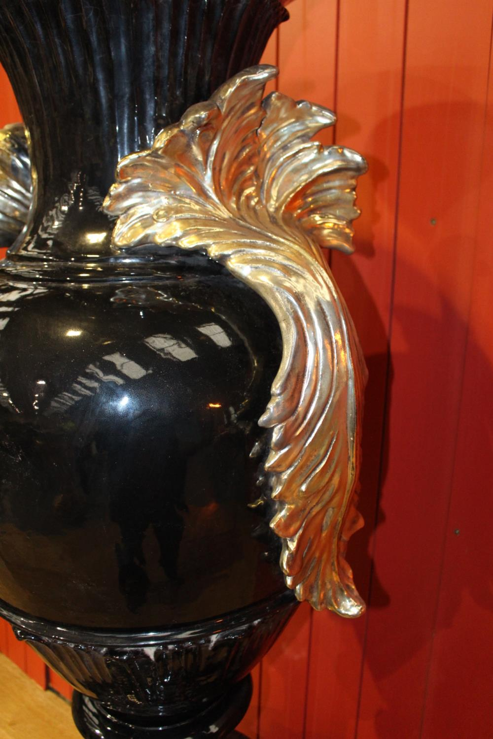 Ceccarelli Gold and black Italian hand painted ceramic urn. - Image 3 of 4