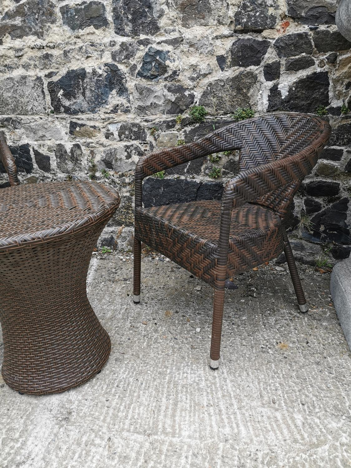Rattan garden table and two chairs. - Image 2 of 3