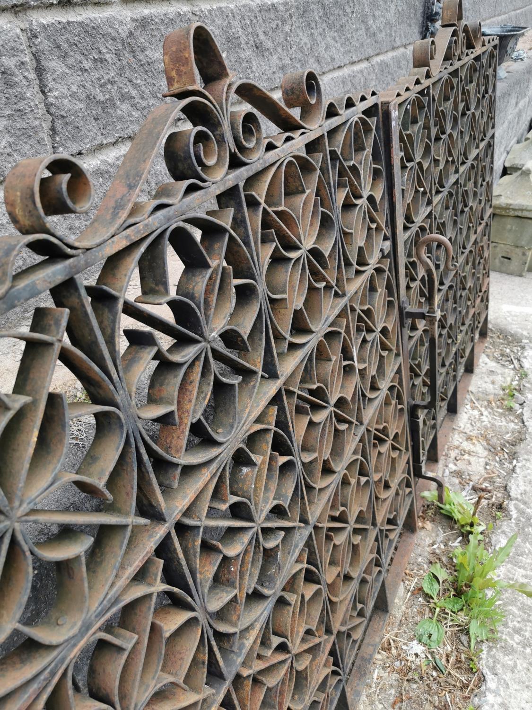 Set of wrought iron entrance gates with brackets. - Image 3 of 4