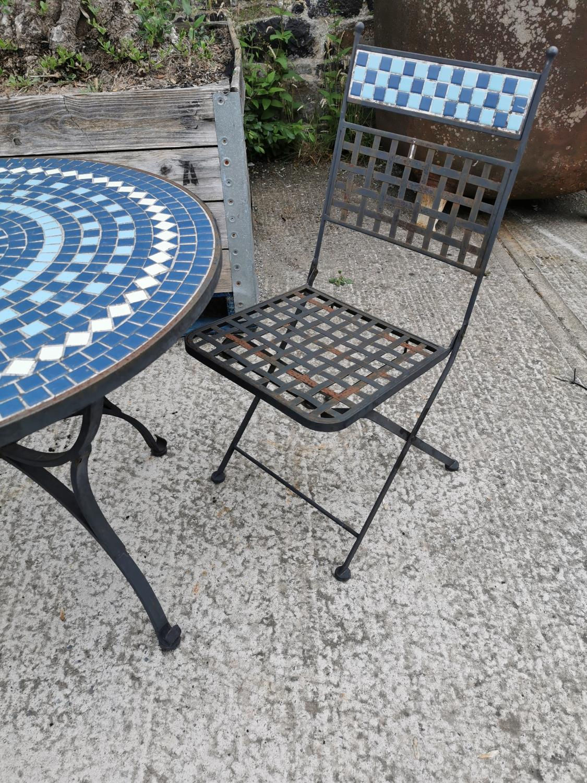 Wrought iron and mosaic three piece garden set. - Image 4 of 4
