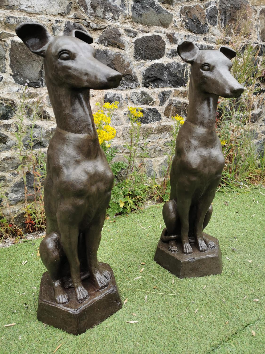 Pair of cast iron seated Whippets. - Image 2 of 3