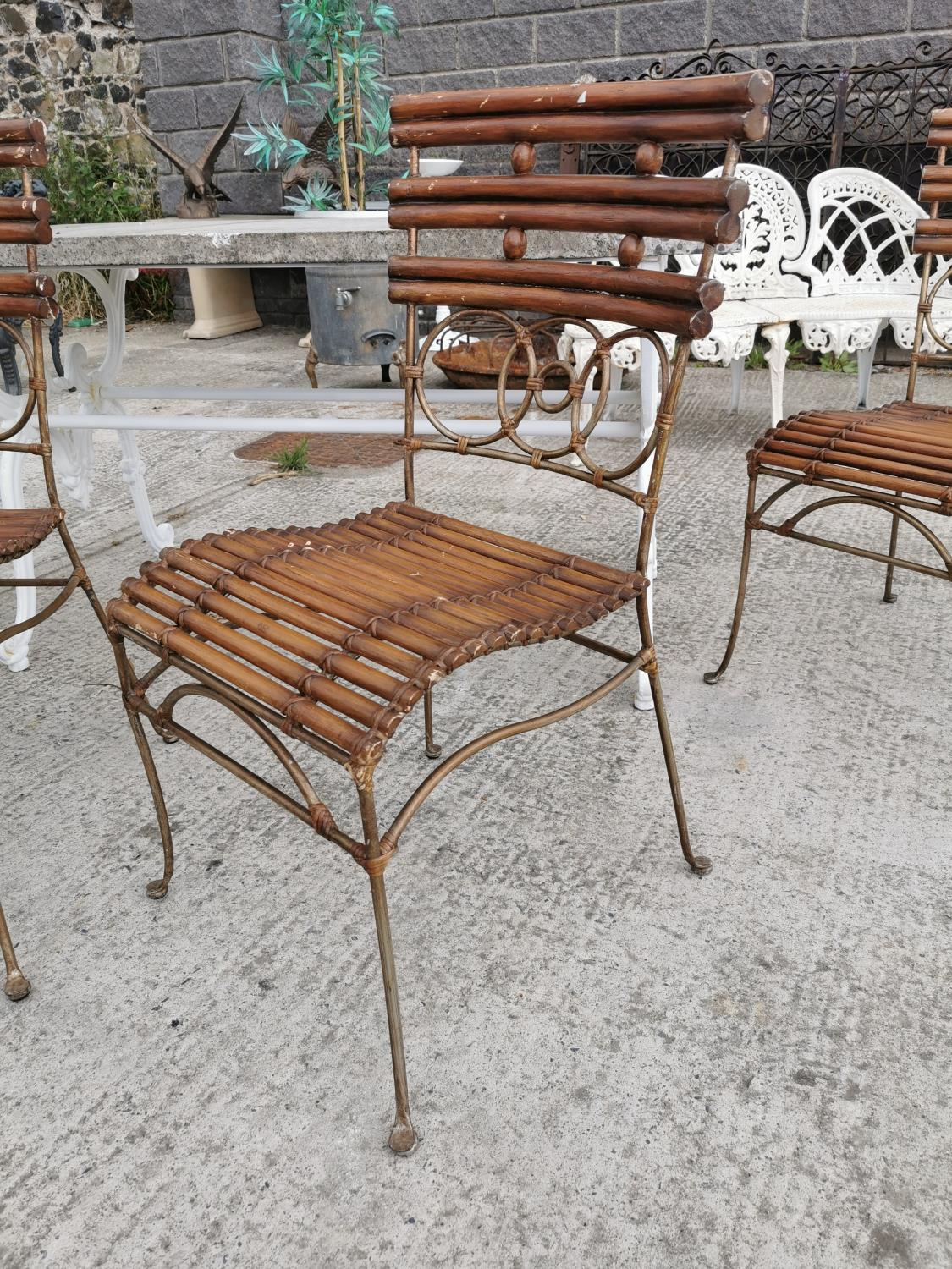 Set of four wrought iron and bamboo garden chairs. - Image 2 of 3