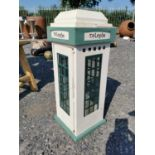 Candle holder in the form of an Irish telephone box