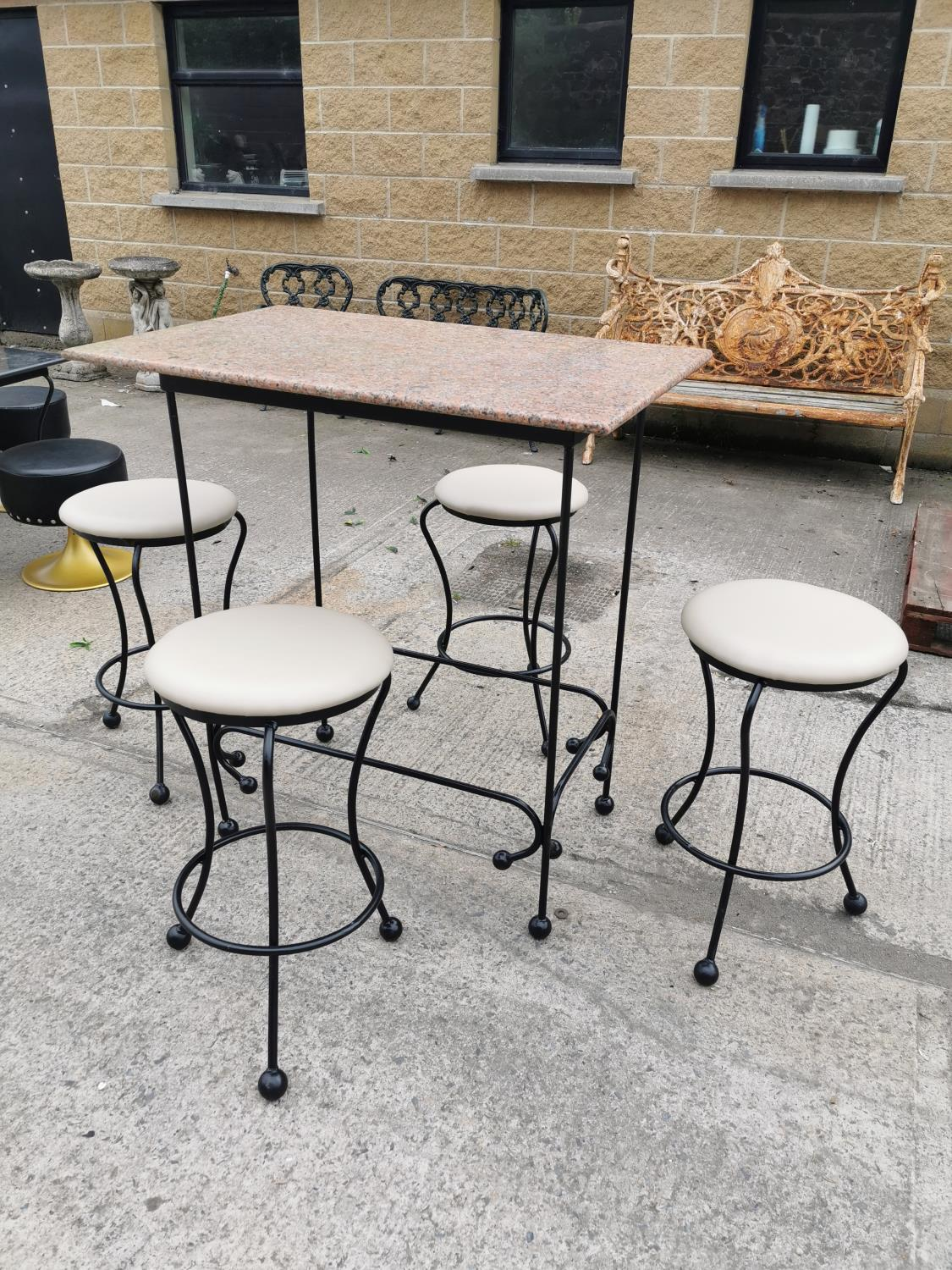 Wrought iron high garden table and four stools. - Image 2 of 3