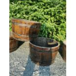 Pair of early 20th C. oak and metal bound planters
