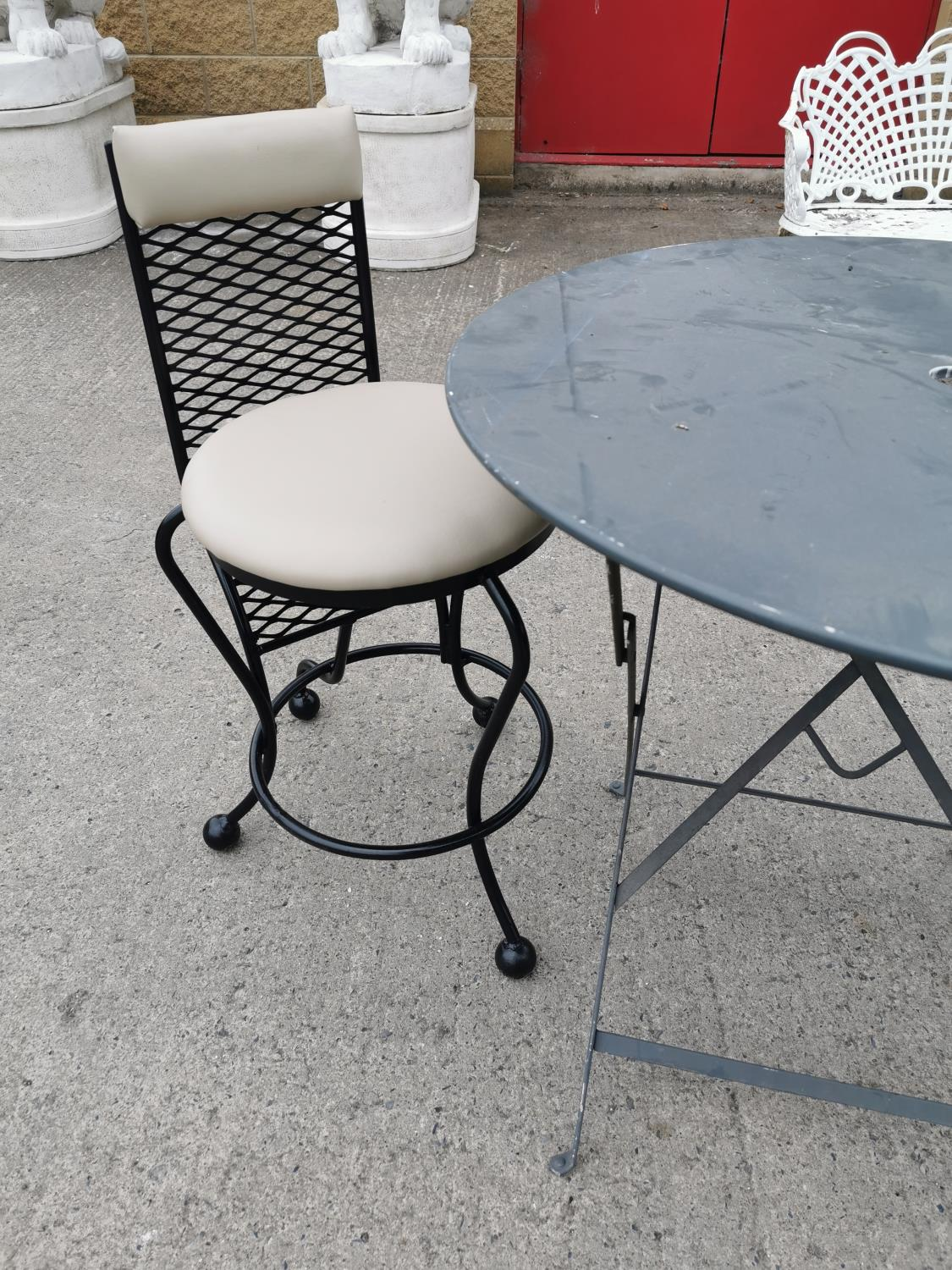 Wrought iron garden table and two chairs. - Image 2 of 3