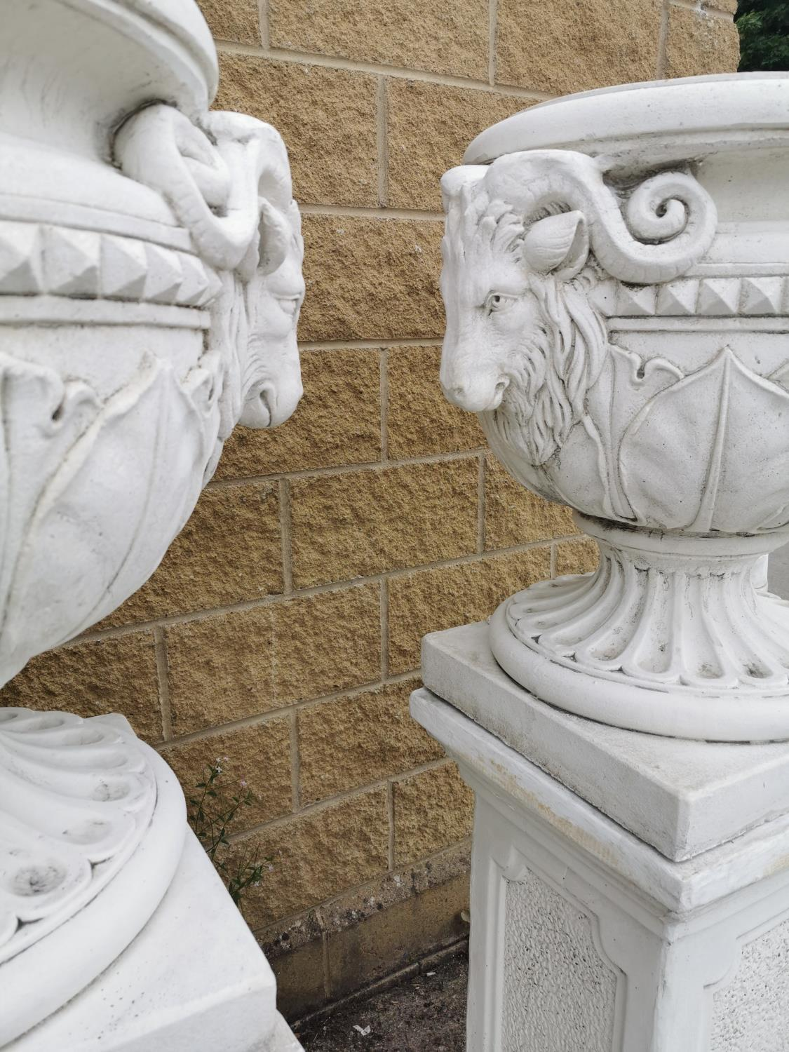Pair of moulded stone Urns on pedestals. - Image 2 of 3