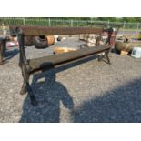 Early 20th C. cast iron and wooden tram bench