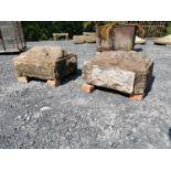 Pair of 19th C. sandstone pier caps