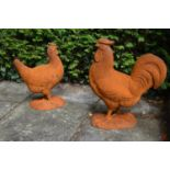 Pair of cast iron models of farm yard Rooster and Hen