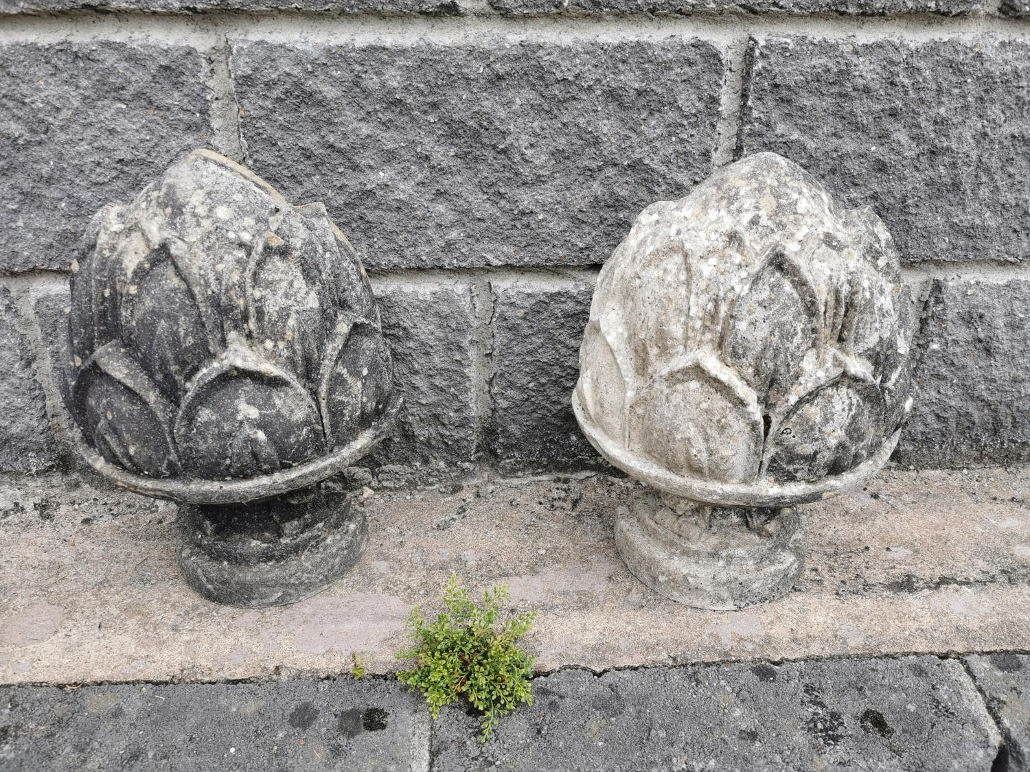 Pair of polystone finials in the form of acorns. - Image 2 of 3