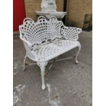 Cast iron two seater garden bench.