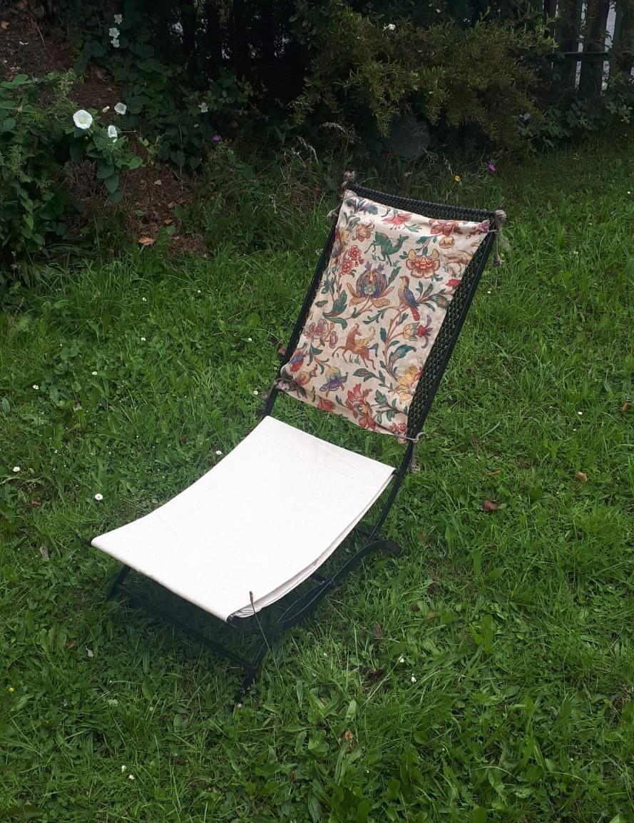 1950s wrought iron garden recliner.