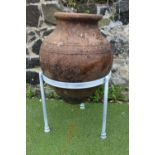 Early 1900's olive pot mounted on stand.