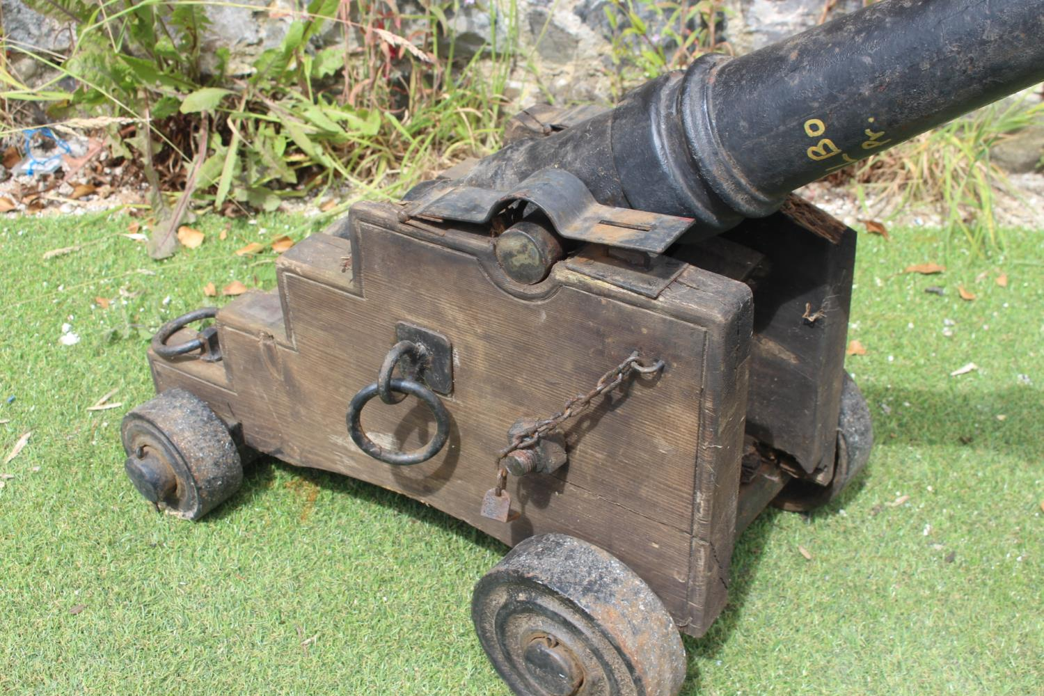 Pair of cast iron and wooden cannons - Image 3 of 3