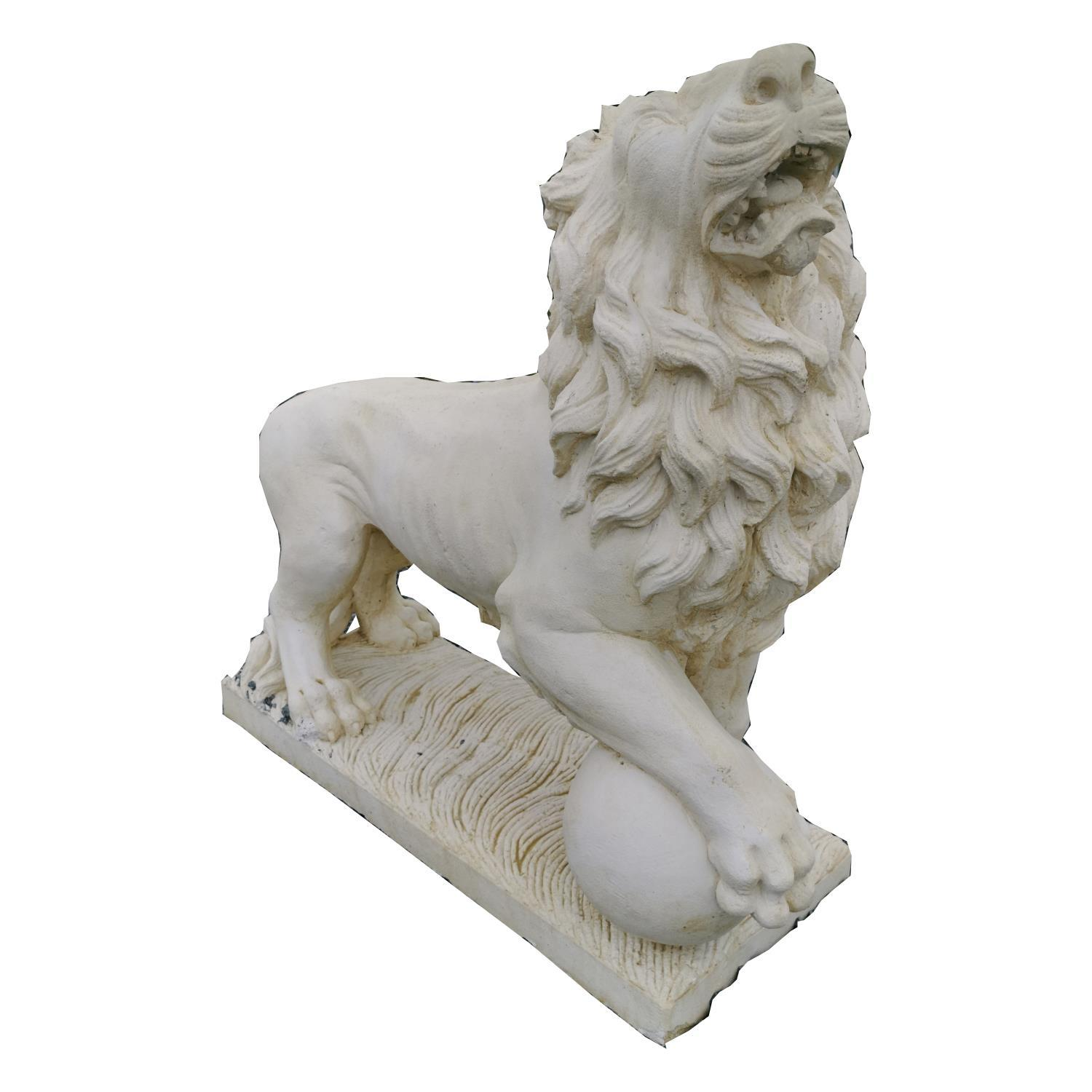 Pair of moulded stone Lions. - Image 2 of 3