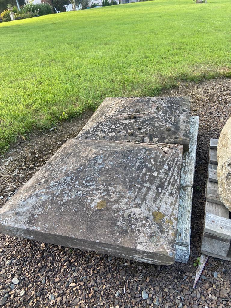 Pair of stone pier cap