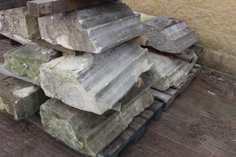 Three pallets of moulded sandstone lintels - Image 4 of 7