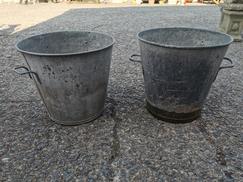Pair of galvanised planters