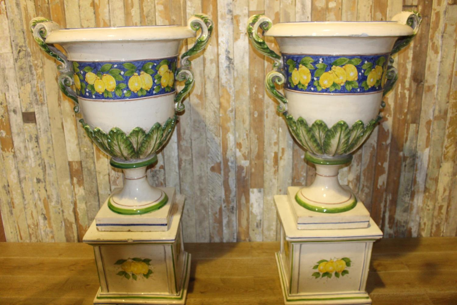 Pair of Italian Cecarelli hand painted urns on base. - Image 2 of 3