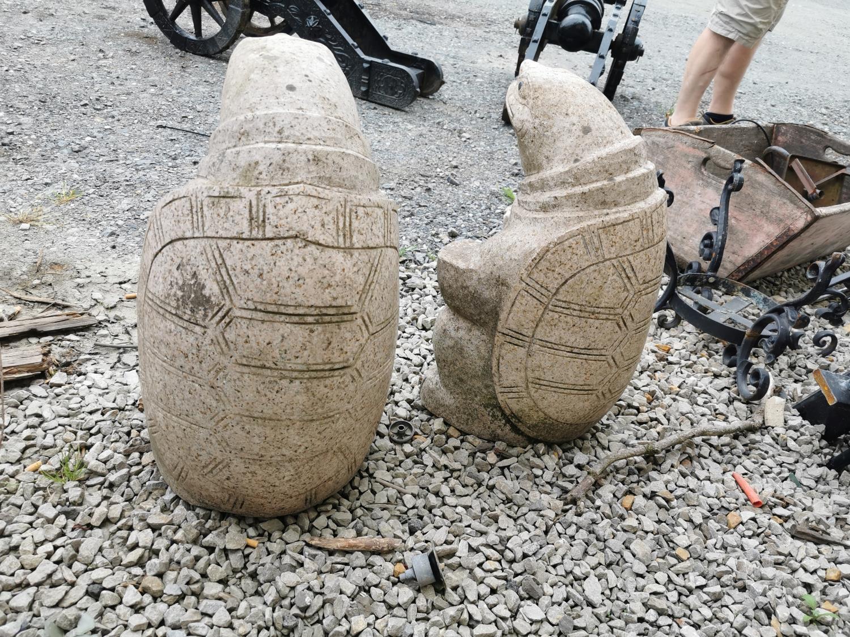 Pair of marble Turtles. - Image 2 of 2