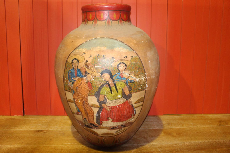 Hand painted terracotta pot.