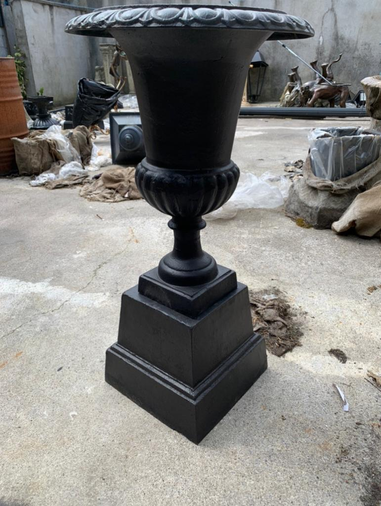 Pair of cast iron urns on bases