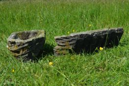 Pair of unusual fossil stone troughs