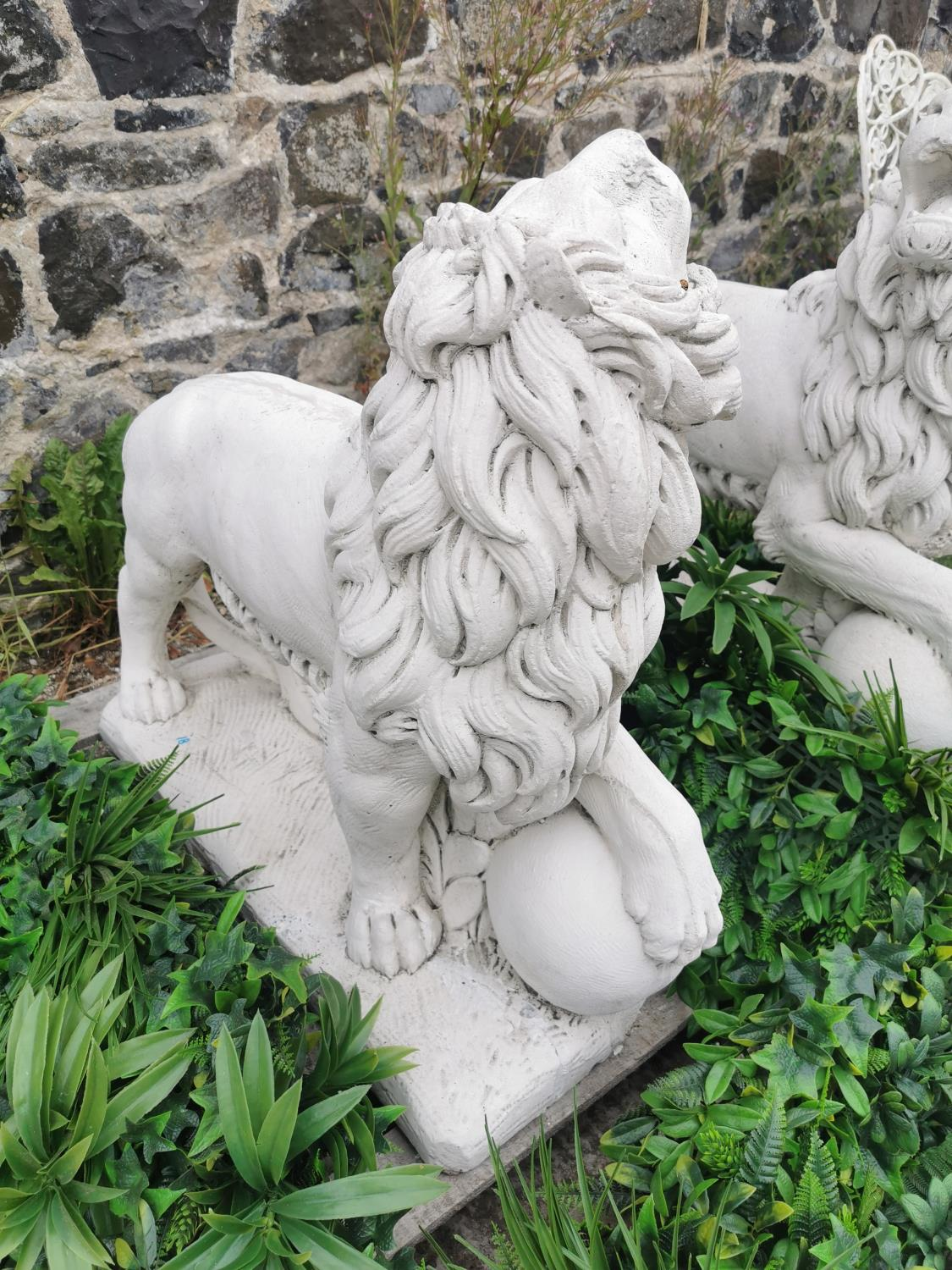 Pair of moulded stone models of Lions. - Image 3 of 3