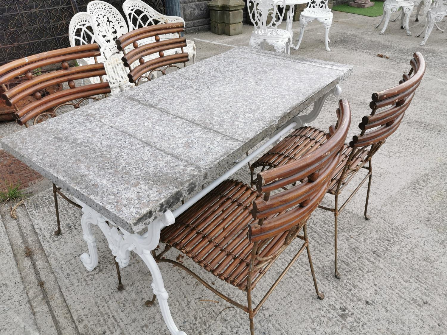 Set of four wrought iron and bamboo garden chairs. - Image 3 of 3