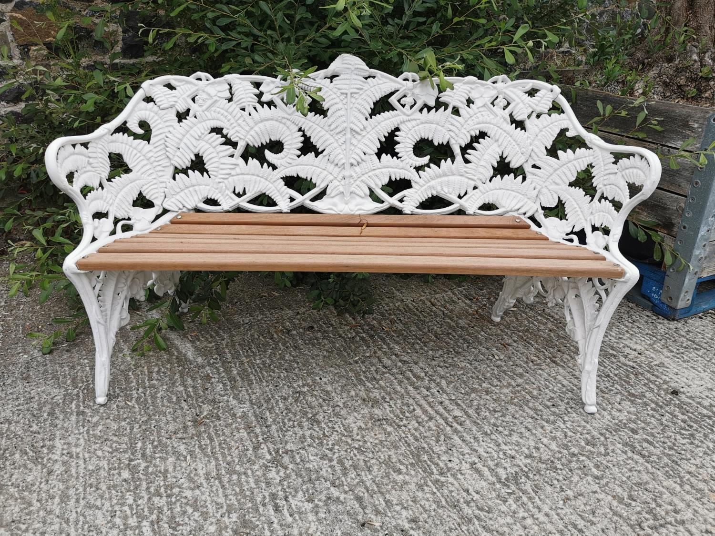 Decorative cast iron fern leaf garden bench.
