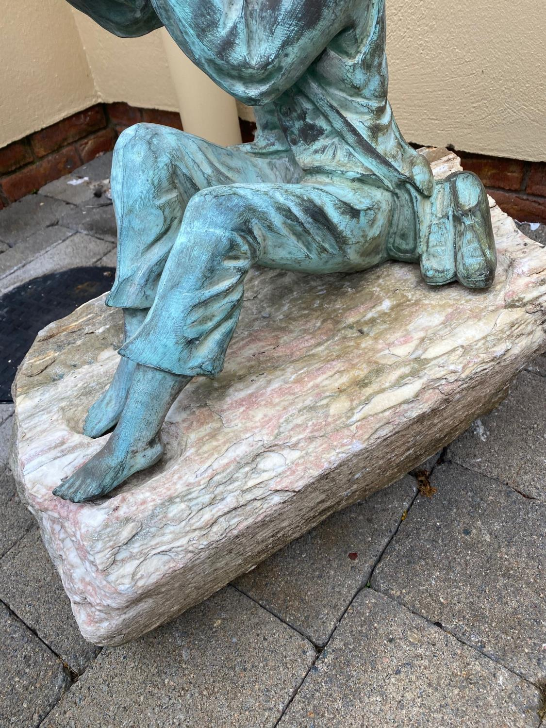 Brozne water feature depicting a Boy. - Image 4 of 5