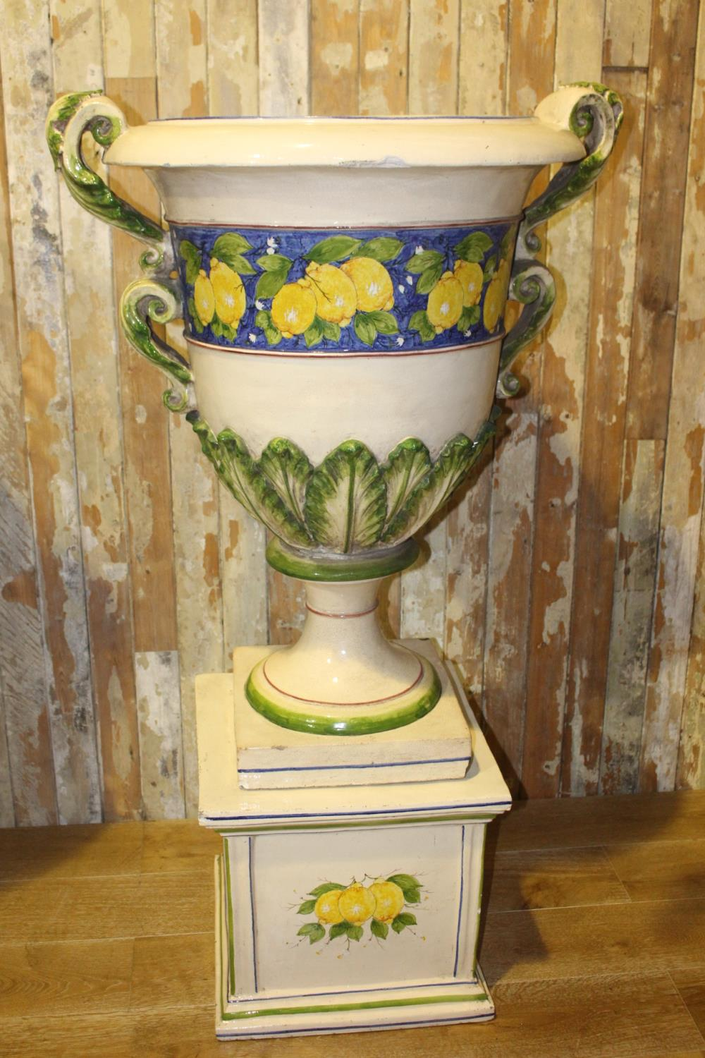 Pair of Italian Cecarelli hand painted urns on base. - Image 3 of 3