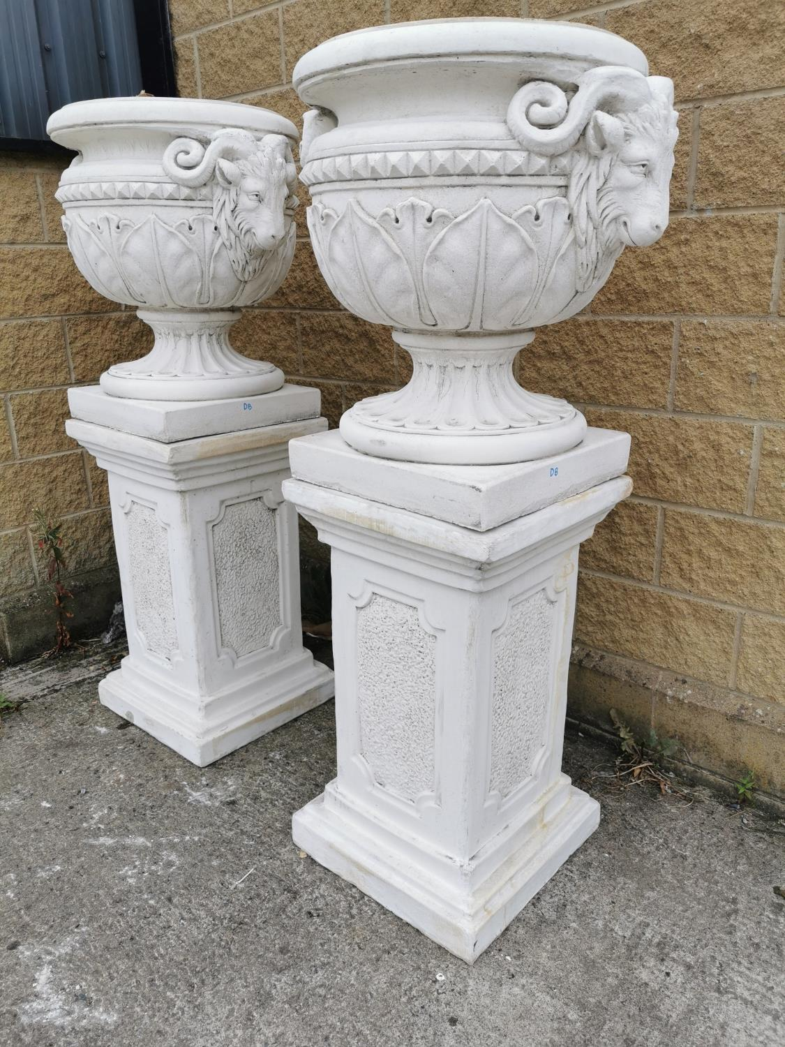 Pair of moulded stone Urns on pedestals. - Image 3 of 3