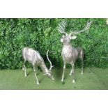White metal model of a Stag and Doe.