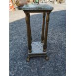 Decorative metal and marble plant stand