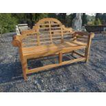 Good quality Lutyens style teak garden bench