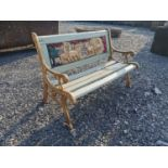 Cast iron and wooden child's garden bench