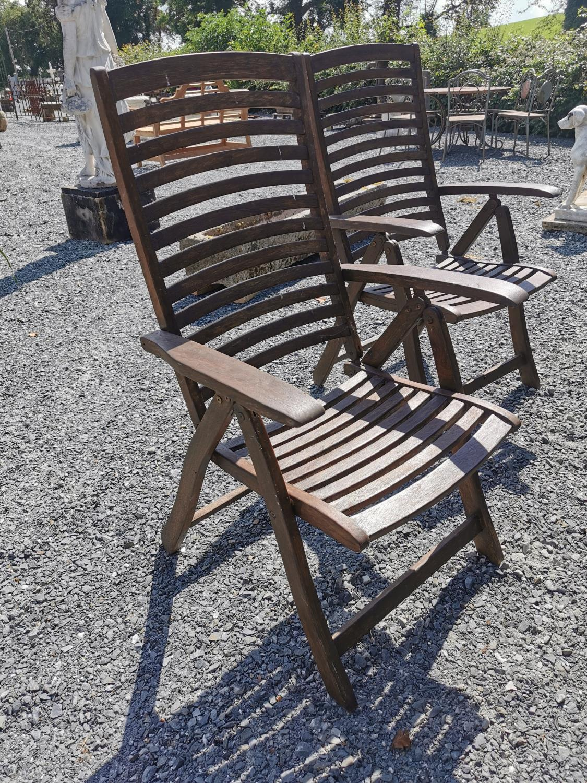 Set of six teak reclining garden chairs - Image 2 of 2