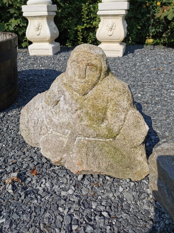 Carved granite Celtic figure