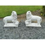 Pair of moulded stone Lions.