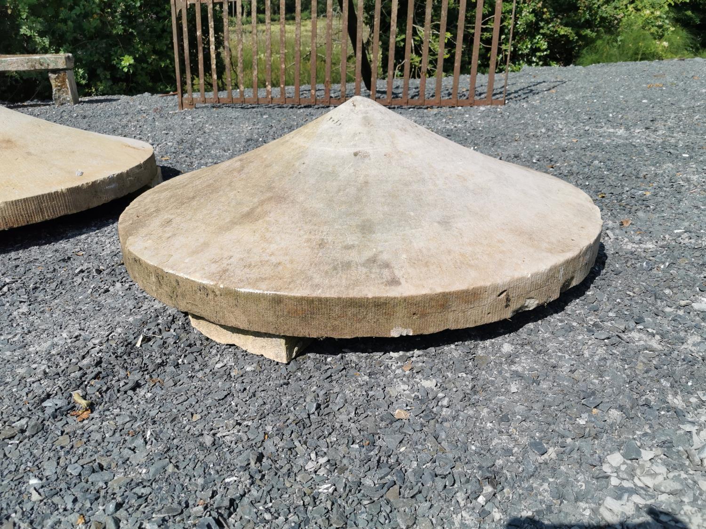 Pair of 19th C. sandstone pier caps - Image 2 of 2