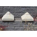 Pair of composite stone pillar caps